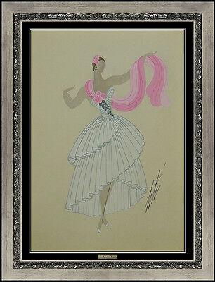 Erte Rare Original Gouache Painting Dress Costume Design Art Deco Romain Tirtoff