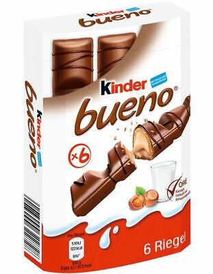 Ferrero KINDER Bueno 6er 129 g - Chocolate Hazelnut Cream Candy From Germany Kinder Bueno Candy