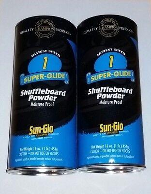 2 Sun-Glo #1 Super Glide Shuffleboard Shuffle Alley Powder Wax Sand FreeShip New