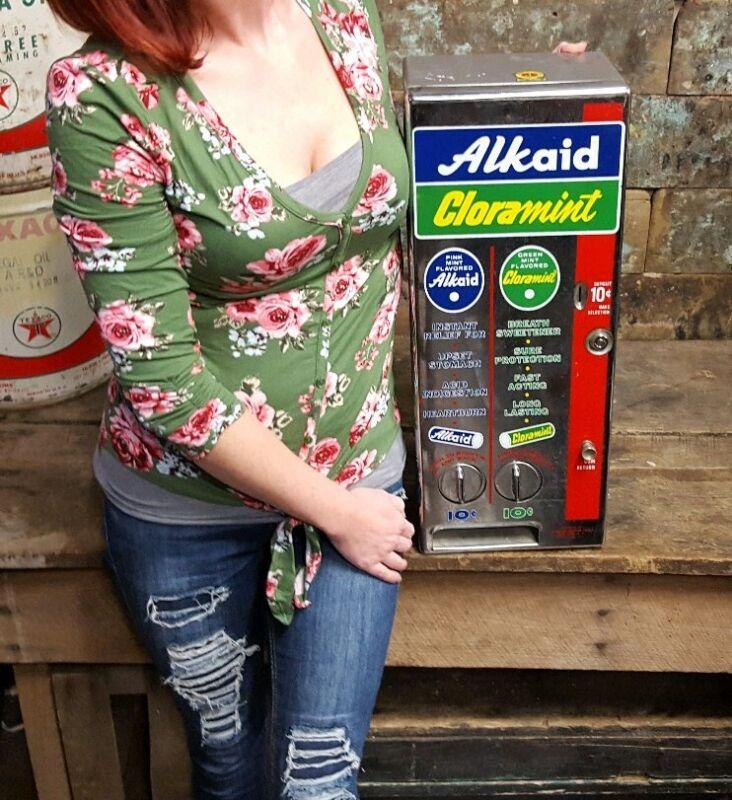 Vintage Alkaid & Cloramint Mint Vending Machine Coin-Op Dispenser & Key NICE!