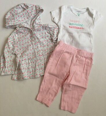 - Carters Baby Girl Hoodie Cardigan Bodysuit Pants Size 3 6 9 Months Pink Layette