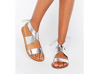 Silver ASOS size 6 ankle tie crossover flat sandals