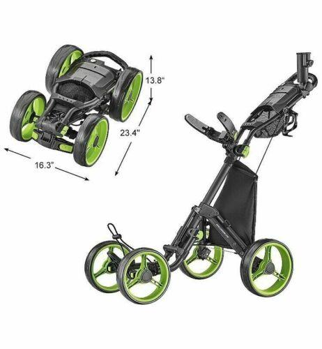 CaddyTek Explorer V8 - SuperLite 4 Wheel Golf Push Cart, Lime