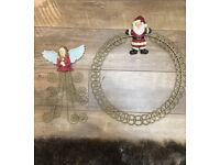 Wall mounted Christmas card gold holders X2. Angel and Santa holder
