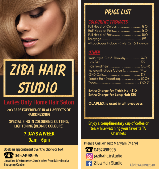 Ziba Hair Studio Ladies Only Home Hair Salon