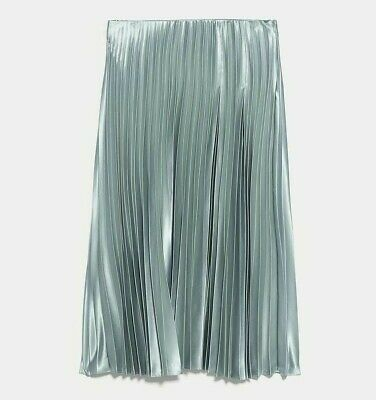 ZARA WOMAN NWT SS20 SALE SEA GREEN SATIN EFFECT PLEATED SKIRT ALL SIZES 3067/161
