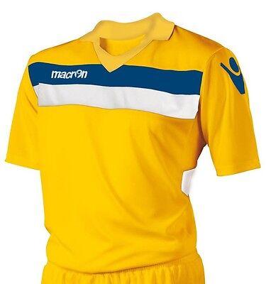 Macron Kuma Set Yellow Football Team Shirt Only - Blue & White FREE POSTAGE