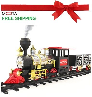 Christmas Holiday Classic Train Set Steam Locomotive Engine Smoke Lights Sounds