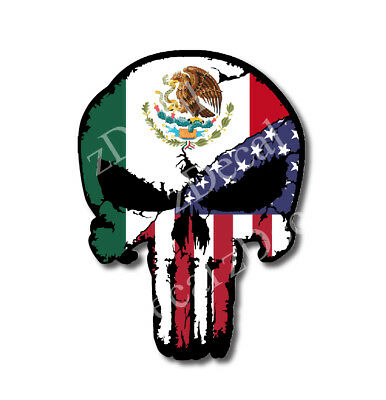 Mexico USA Flag Punisher Skull Vinyl Decal Sticker Jeep Truck Car Bumper Car 3M