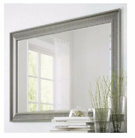 Large Silver Mirror - ribbed wooden frame, classic design - AS NEW