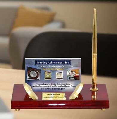 Desk Gold Accents Business Card Holder Pen Set Gift Employee Recognition Award