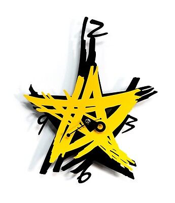 Large Star Wall Clock Modern Steel Home Decor Art Unique Design - Black & Yellow