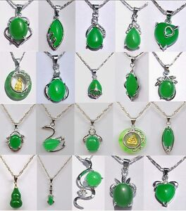 New-design-charm-Various-styles-green-jade-PENDANT-NECKLACE-Chain-free-shipping