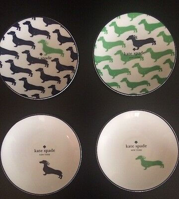 Kate Spade WICKFORD DACHSHUND Set 4 Tidbit Plates Lenox China New