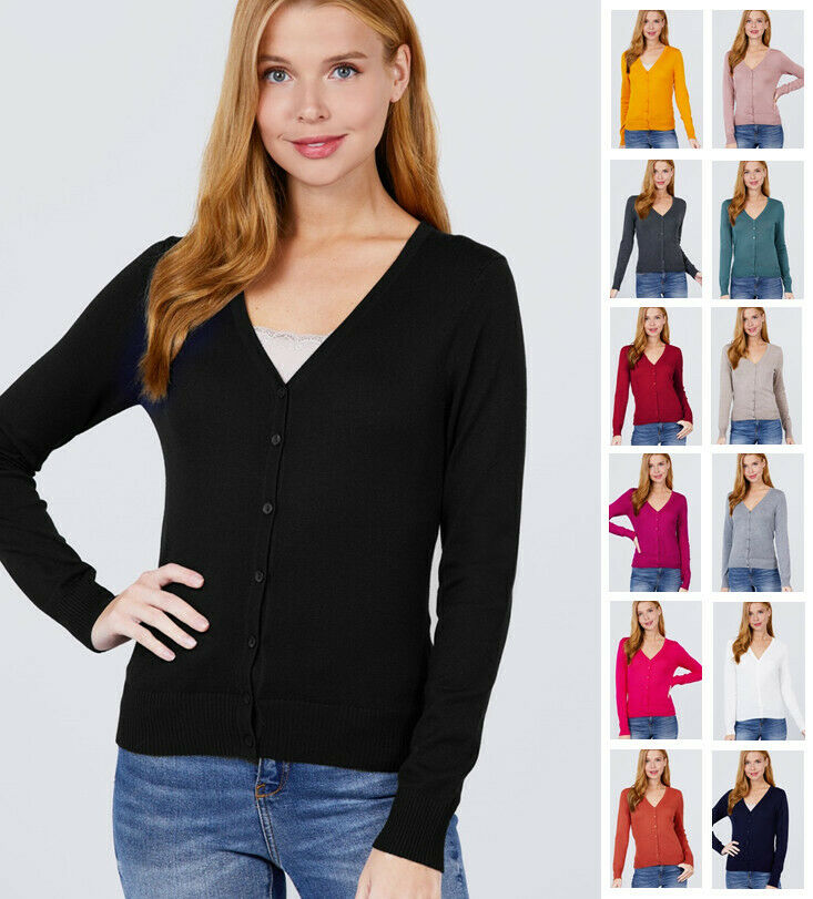 Women's Long Sleeve V-Neck Button Down Sweater Cardigan Clothing, Shoes & Accessories