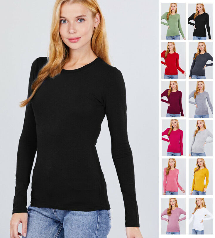 Women's Long Sleeve Crew Neck Lightweight T Shirts (S-2XL) Clothing, Shoes & Accessories