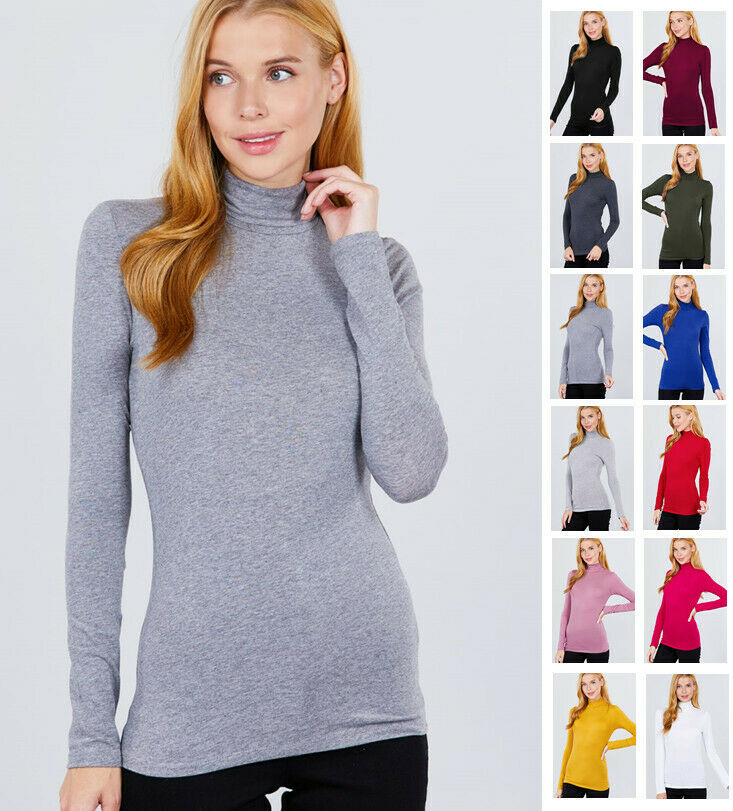 Women's Turtleneck Long Sleeve Cotton Jersey Top Clothing, Shoes & Accessories