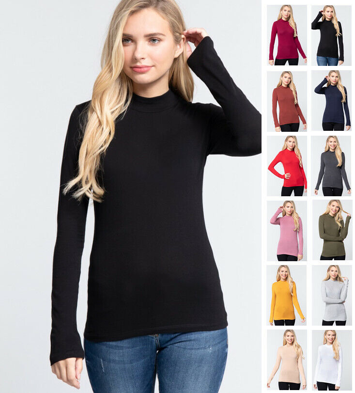 Women's Long Sleeve Mock Neck Cotton Jersey Top Clothing, Shoes & Accessories