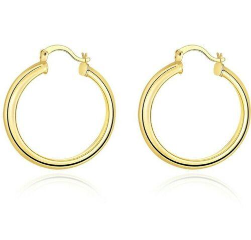 Ladies 10k Yellow Gold Scalloped Textured Hinged Post Hoop Earrings 34mm