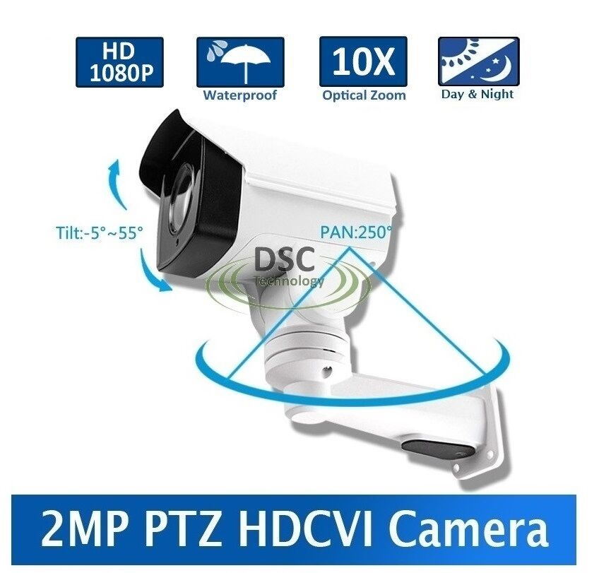 2MP 1080p HD-CVI Pan-Tilt-Zoom IR PTZ BulletCamera: 10x Zoom, 80m Infrared, IP66