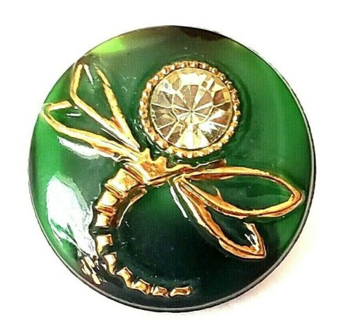 Vintage Button with Paste…Moonglow Dragonfly