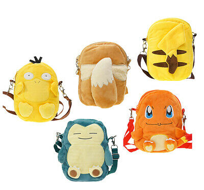 Pokemon Pikachu Snorlax Charmander Eevee Psyduck Plush Backpack School Bookbag  - Pokemon Bookbag