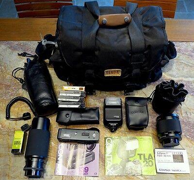 Contax 139 Quartz: macro & zoom lenses, flash, winder, Tenba bag; one US owner