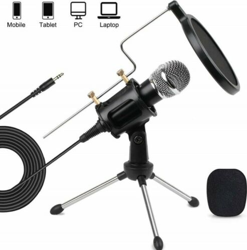 Home Studio Condenser Microphone Stand Kit iPhone Podcast PC Mic YouTube Videos