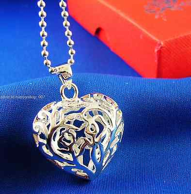 Hollow Flower Love Heart 925 solid Silver Pendant + bead chain Necklace 20