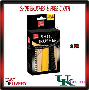 NEW SHOE BRUSH CLEANING KIT SET 2 BRUSHES FREE SHINE CLOTH SHOES CARE