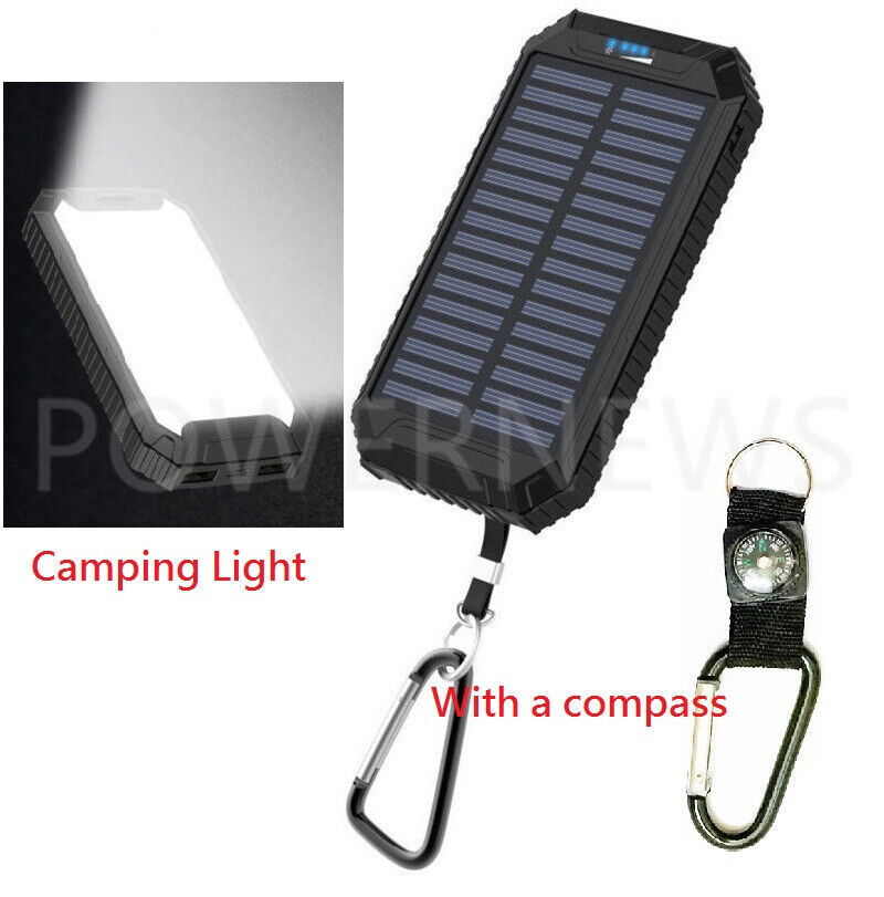 2021 Waterproof 2000000mAh USB Portable Charger Solar Power Bank For Cell Phone
