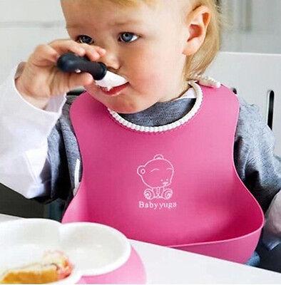 Lovely Baby Infants Kids Cute Silicone Bibs Baby Lunch Bibs Cute Waterproof