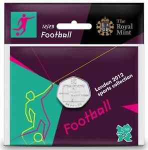 London-2012-Olympic-Royal-Mint-FOOTBALL-50p-Coin-Brand-New-Unused-Sealed