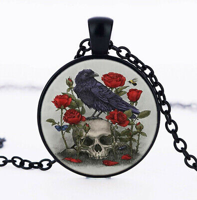 Raven and Flower Skull Photo Cabochon Glass Black Chain Pendant Necklace