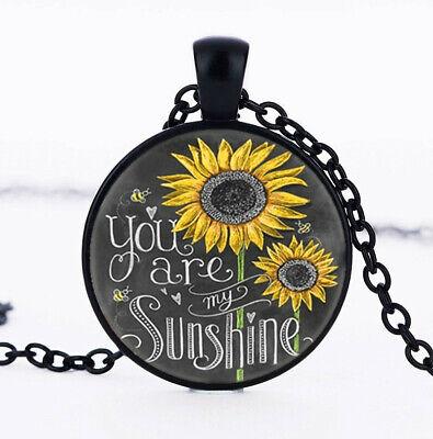You Are My Sunshine Photo Cabochon Glass Black Chain Pendant Necklace Vintage