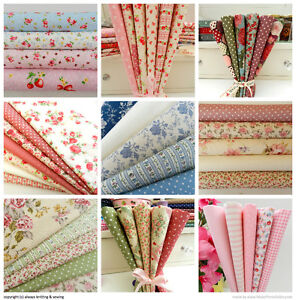 NEW-fat-quarter-bundles-100-cotton-vintage-pink-blue-greens-pastel-pink-blue