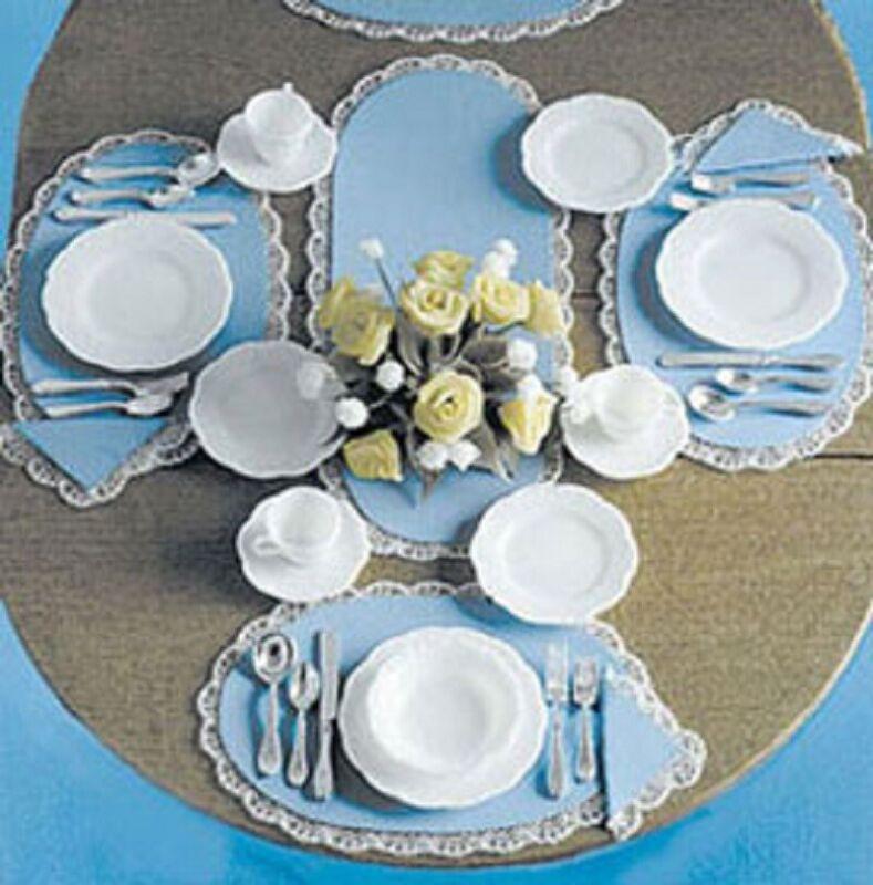 Dollhouse Miniature Dishes and Silver, 4 Place settings Mini-Kit