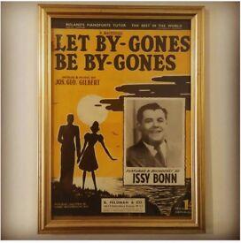 Vintage Sheet Music, Framed (1950's). Let bygones be bygones- Print: @ebbandflowhome