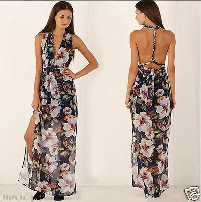 Sexy Halter Tiered Maxi Dress Floral S 8 10 Open Back Twist Hot Plunging Top NEW Hot Sexy Halter Dress Top
