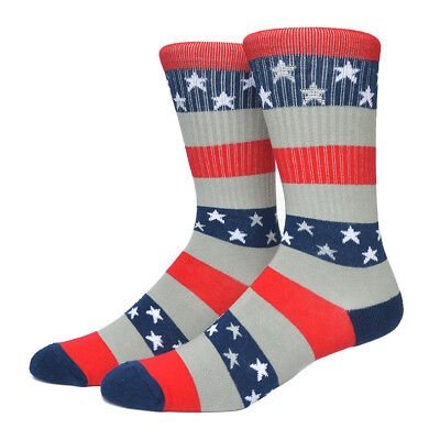 Red White Striped Socks (USA Socks American Patriot Red White and Blue Striped Gray (1)