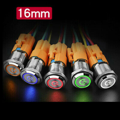16mm 12v Led On Off Push Button Power Switch Latching With Wire Socket Harness