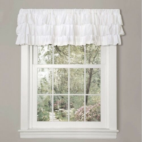 "Lush Decor Belle Window Valance 18"" x 84"" White Ruffles New"