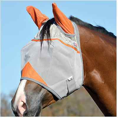 Cashel FLY MASK with ORANGE EARS HORSE WITH COVERS EARS Standard Sun Protection