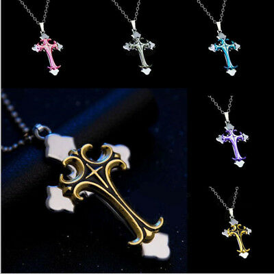 Cross Pendant Necklace Stainless Steel Unisex Crucifix Men Women With (Chain Crucifix Necklace)