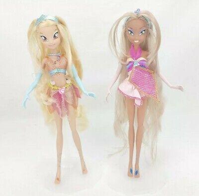 Set of 2 Giochi Preziosi Winx Club Magic Light Enchantix Flora & Stella Dolls!