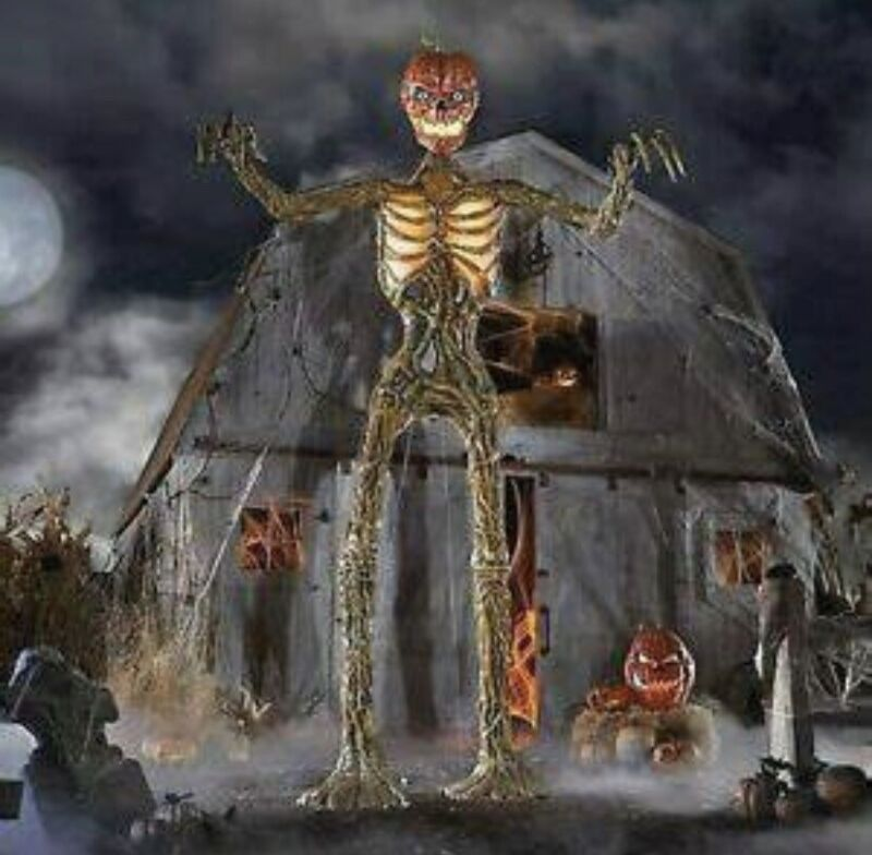 12ft Giant Inferno Pumpkin Head Skeleton With Life Like Eyes Home Depot New