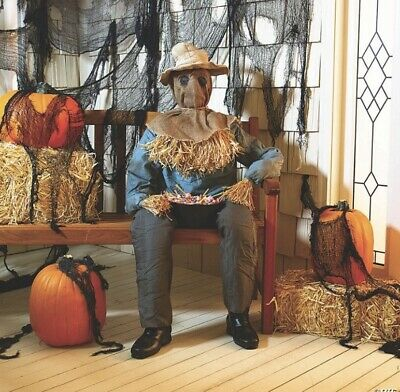 RARE Spirit Halloween 2016 Animated Sitting Scarecrow W/Box- Sold Out