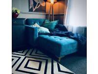 Teal Velvet Chaise Lounge
