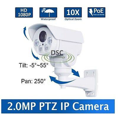 Mini PoE PTZ Bullet IP Camera 1080P 10x Zoom Zoom Pan/Tilt/Zoom Outdoor Camera Outdoor Mini Bullet