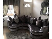 Next Crushed Velvet Corner Sofa Dark Grey - Next £2000